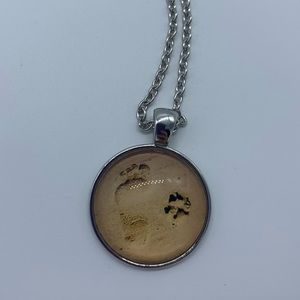 New human foot & dog paw print pendant necklace